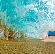 Underneath Breaking Wave, Oahu, Hawaii. Photo by Clark Little.