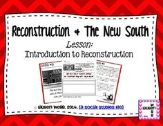 "Reconstruction! {An Introductory, Document-Based Lesson} Aim: What was America's goal for the South after the Civil War? How did this goal succeed or fail? Included in this product: Full Lesson Plan Student-centered Do Now question: What does it mean to ""reconstruct"" something? Does ""reconstruction"" always work? Why or why not? Introduction to Reconstruction ""Museum Walk""/Station Activity Application/Closing/Higher-Order Thinking Questions © Lauren Webb 2014 {a social studies life}"