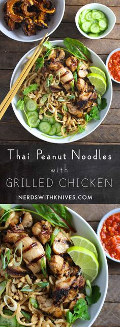 Thai Peanut Noodles with Grilled Chicken - Nerds with Knives Asian Recipes, Healthy Recipes, Ethnic Recipes, Asian Foods, Easy Recipes, Thai Peanut Noodles, Thai Noodles, Chicken Recipes, Turkey Recipes