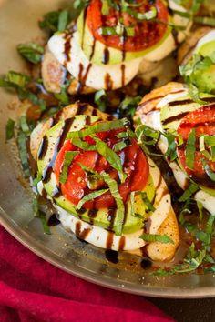 Avocado Caprese Skillet Chicken (I go light on the cheese and avocado to make this a 21DF recipe)