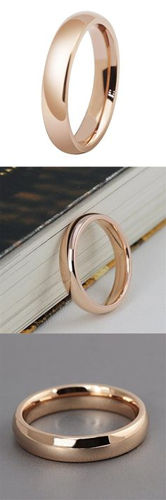 Womens 4mm Stainless Steel Rose Gold Simple Style Wedding Ring Engagement Band High Polished Comfort Fit Size 7