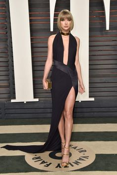 Taylor Swift wearing Alexandre Vauthier Spring 2013 Couture Halter Gown, Giuseppe Zanotti Coline Gold Strappy Sandals and Jimmy Choo Box Clutch