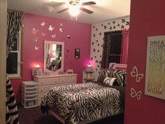 litte girl pink zebra room