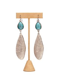 Antique Silver/Turquoise Seashell Earrings