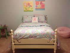 """Used Annie Sloan Old White and clear wax. Eleanor's """"new"""" big-girl bed Cannonball Bed, Annie Sloan Old White, Annie Sloan Chalk Paint, Dark Wood, Wax, Painting, Furniture, Home Decor, Decoration Home"""