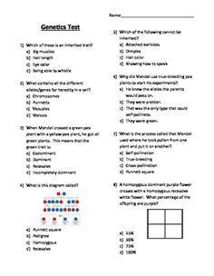 Genetics Inherited Traits Quiz Science 5th Grade