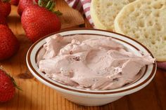 This 3-Ingredient Whipped Strawberry Cream Cheese Recipe Just Loves Those Nooks & Crannies | Fruit | 30Seconds Food Cream Cheese Recipes, Strawberry Desserts, Strawberries And Cream, Nooks, 3 Ingredients, Food Hacks, Biscuits, Dips, Deserts