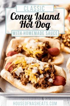 Your classic wiener and bun combo, but the meaty chili sauce is what separates these Coney Island Hot Dogs from all other hotdogs. Top it with some cheese, onions, and mustard and this is a recipe you'll want to keep on file! #hotdogs #chili #best #coneyisland #coneydogs #beef #homemade #chilisauce #dinner #detroit #michigan Entree Recipes, Delicious Dinner Recipes, Grilling Recipes, Brunch Recipes, Summer Recipes, Yummy Food, Brunch Ideas, Dinner Ideas, Copycat Recipes