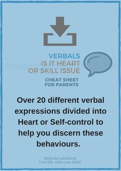Over 20 different verbal expressions divided into heart or self control to help parents discern these behaviours.