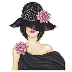 Lady with a flower in the hat Fabric Painting, Fashion Sketches, Fashion Art, Vintage Ladies, Art Drawings, Illustration Art, Illustration Fashion, Fashion Illustrations, Canvas Art