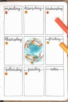 Want to switch up your bullet journals decoration and need some new ideas! Check out these Koi Fish themed cover pages, trackers, and weekly spreads for inspiration! Bullet Journal First Page, Bullet Journal Week, Bullet Journal Notebook, Bullet Journal Themes, Bullet Journal Spread, Bullet Journal Layout, Bullet Book, Bellet Journal, Bullet Journal Lettering Ideas