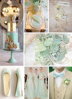 Mint  Gold Wedding Colour Palette #Wedding