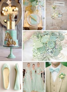 Mint  Gold Wedding Colour Palette #Wedding