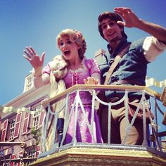 Rapunzel and Flynn Rider 3:00 parade Magic Kingdom.going to meet her.I dont think i can meet Flynn anymore:(