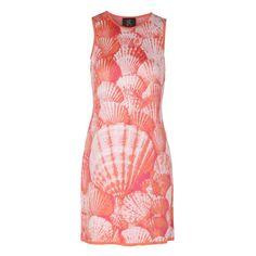 Ekaterina Kukhareva - Seashell Dress ($400) ❤ liked on Polyvore featuring dresses, red summer dress, rose pattern dress, sleeveless summer dresses, day summer dresses and red sleeveless dress