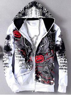 Hip Hop Rhinoceros Pattern Velvet Hooded Jacket