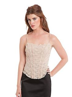 Lace Camisole  $98.00   Sheer and sexy, this lace cami can be worn solo or underneath your favorite knits. Team it with a blazer and fitted skirt for must-have night out style.