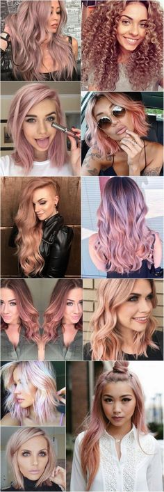 rose gold hair Cabelos coloridos: A te - haar Cabelo Rose Gold, Pastel Hair, Purple Hair, Ombre Hair, Pastel Pink, Grunge Hair, Gorgeous Hair, Pretty Hairstyles, Hairstyle Ideas