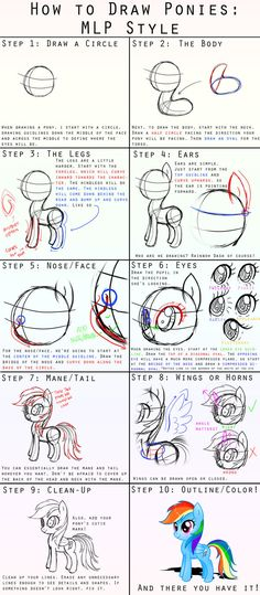 How to Draw Rainbow Dash - or any other of the current generation of Ponies.  I don't have any of these, but they are popular.  I'll have to buy one or two, and...uh oh, that's how it starts!