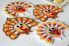 Crochet Pattern: Turkey Coasters And Ornaments Pattern adapted from Jennifer Martin& pattern in Ravelry by Craft Passion Crochet Pumpkin, Crochet Fall, Holiday Crochet, Crochet Home, Love Crochet, Crochet Crafts, Yarn Crafts, Crochet Projects, Thanksgiving Crafts To Make