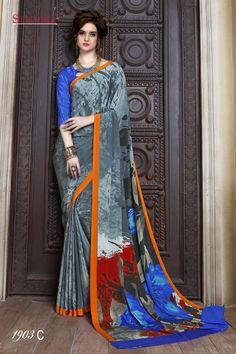 Multi-Colour Crepe Silk Printed Saree  - SUSHMA-1903-C