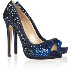 Oscar de la Renta Valerie sequined satin peep-toe pumps ($315) found on Polyvore