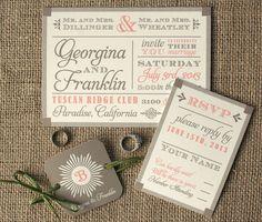 Modern Vintage Wood Block Fonts Wedding by sofiainvitations, $5.00