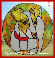 Jack Russell - faux leadlight /stained glass look window cling/decal. Using Plaid Gallery Glass paints. (design compliments of Chantal Pare)