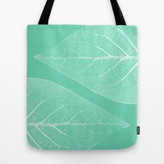 BLATT WERK I  Tote Bag by Pia Schneider [atelier COLOUR-VISION] - $22.00 #totebag #bag #fashion #art #illustration #nature #Leaf #Leaves #Mint #Turquoise #Cyan #White #structures #modern #timeless  #accessoires #shoppingbag #beachbag #piaschneider #ateliercolourvision #taschen