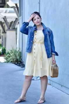 Retro-Inspired Sundress Had me at Hello denim jacket with dressdenim jacket with dress Curvy Outfits, Mode Outfits, Plus Size Outfits, Trendy Outfits, Plus Size Clothing Stores, Plus Size Womens Clothing, Clothes For Women, Plus Size Fashion For Women, Curvy Women Fashion