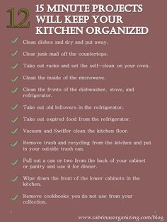 Twelve 15 Minute Projects Will Keep Your Kitchen Organized FREE Printable! : via Sabrina's Organizing