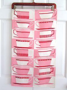 Vintage TEA Towel Martex Teacups Saucers PINK Red by NeatoKeen