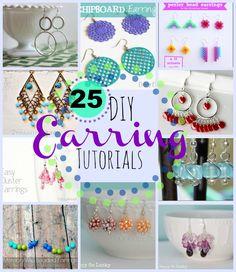 25 DIY Earrings Tutorials  -  www.DoSmallThingsWithLove.com  (11.18.13)