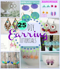 25 DIY Earrings Tutorials  -  www.DoSmallThingsWithLove.com  (11.18.13)