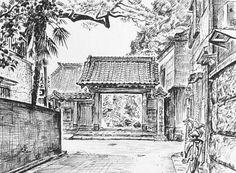 Artist - Itsuo Kiritani   Title - Kanoin Temple, Yanaka 3 Chome(加納院、谷中3丁目) Dimensions - (12.8cm x 17cm)  Year - 1993  Media - Pen and Ink on Paper   Exhibition - ANA InterContinental Tokyo  Nov. 9, 2015 - Feb. 9, 2016     Inquiry