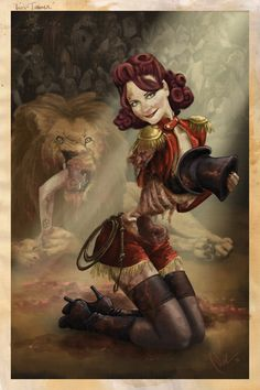A zombie having a bit of fun at the circus Commission for a pinup model photo ref [link] Lion Tamer Freak Show Costumes, Lion Tamer Costume, Wolf, Zombie Prom, Halloween Magic, Halloween Pictures, Halloween Ideas, Halloween Party, Vintage Carnival