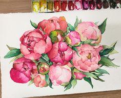 No photo description available. Watercolor Projects, Watercolor Plants, Pen And Watercolor, Watercolor Techniques, Watercolour Painting, Floral Watercolor, Plant Painting, Vintage Drawing, Botanical Art
