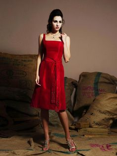 Absorbing Red Satin Straps Sash Wholesale Knee Length Best Selling
