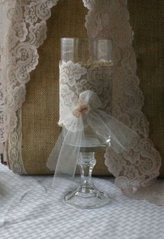 candle and lace centerpieces | Burlap with vintage lace centerpieces for candles by Bannerbanquet
