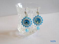 Aqua blue Swarovski rivoli earrings by DKHM on Etsy, $33.00