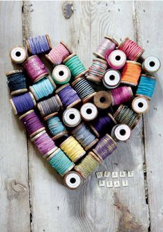 thread spools heart