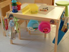 Latt, Bygel rail and container    Description: used clear water based varnish to make the table and chair washable. Thenadded the Bygel rail and containers on one side of the table.    applied knobs made of wood for handmade magazine rack made of blue polycarbonate.
