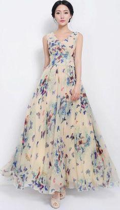 Beautiful Scoop Sleeveless Print Long Pleated Chiffon Dress