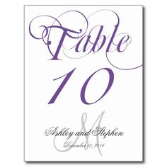 Purple Gray Monogram Wedding Table Number Card Post Cards