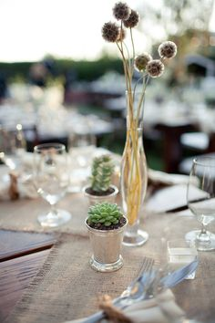 Loving succulents & some simple stems as table accents. I'm not big on elaborate centerpieces & I figure post-reception, guests will be encouraged to take home the succulents!