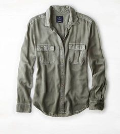 AEO Military Button Down Shirt, Olive | American Eagle Outfitters