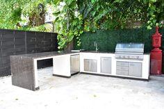 Outdoor Kitchen Kits, Outdoor Kitchens, Outdoor Spaces, Outdoor Living, Outdoor Patios, Cedar Walls, Charcoal Bbq, Basic Kitchen, Backyard Landscaping