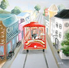 San Francisco Print, Take the Trolley Hawk art, san francisco trolley print, red trolley, ho San Francisco Coffee, Art Transportation, Happy New Home, Pigment Ink, Woodland Animals, Epson, All Print, Watercolor Paper, Fine Art Paper