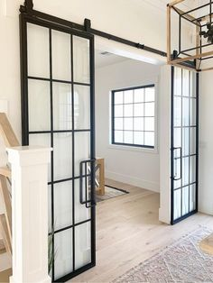 A jaw dropping design by @newbuildanddesign & @audreycrispinteriors 😍  The mix of metal and wood elements in this space is incredible! The Mountain French Full Double Barn Doors are made out of steel and glass, which is perfect for providing privacy without closing off a room completely. The full glass windows allow light to enter in while still separating a room.