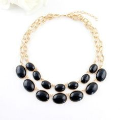 Chic Style Oval Faux Gem collar del diseño de multi capa para las mujeres para Vender - La Tienda En Online IGOGO.ES